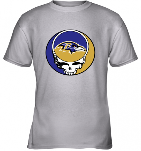 p7mh nfl team baltimore ravens x grateful dead youth t shirt 26 front sport grey