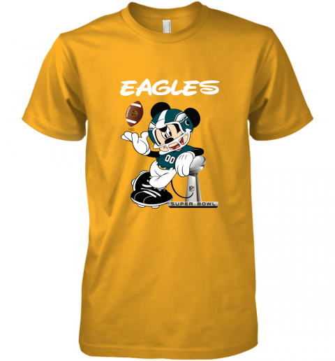 yz1k mickey eagles taking the super bowl trophy football premium guys tee 5 front gold