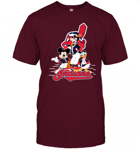 j8x3 cleveland indians mickey donald and goofy baseball jersey t shirt 60 front maroon