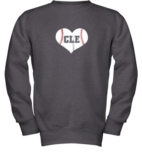 9iz4 cleveland ohio baseball love heart cle gift jersey fan youth sweatshirt 47 front dark heather