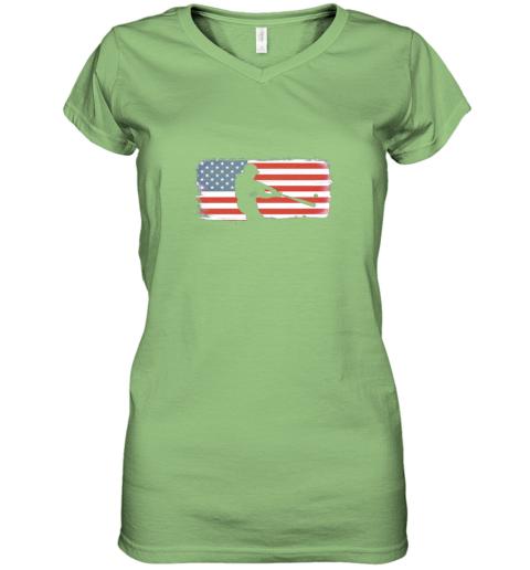 ysvs usa american flag baseball player perfect gift women v neck t shirt 39 front lime