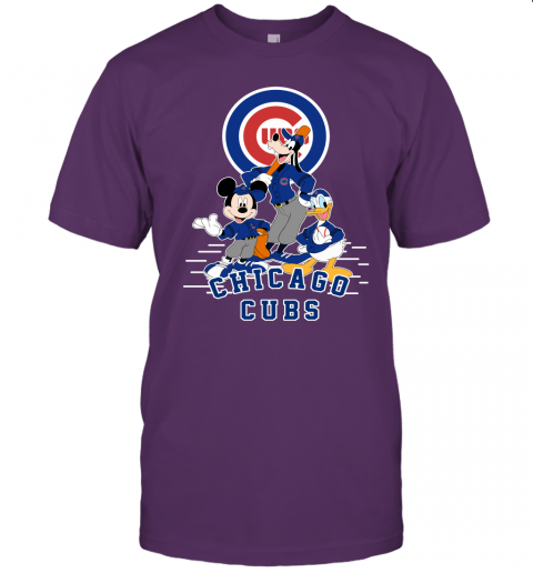 uwlt chicago cubs mickey donald and goofy baseball jersey t shirt 60 front team purple