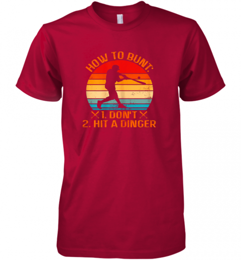 ajj6 how to bunt don39 t hit a dinger baseball premium guys tee 5 front red