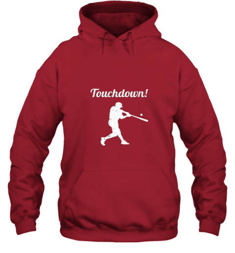 r7r3 touchdown funny baseball hoodie 23 front red