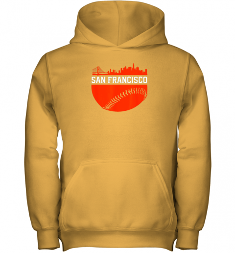 mh3j san francisco baseball vintage sf the city skyline gift youth hoodie 43 front gold