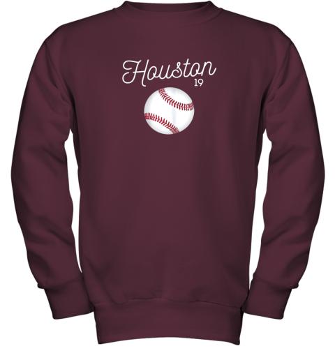 ykv4 houston baseball shirt astro number 19 and giant ball youth sweatshirt 47 front maroon