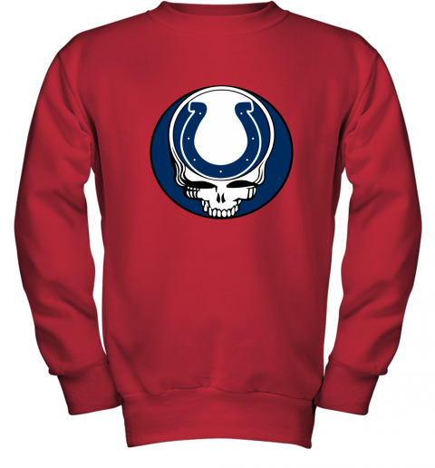 7zp8 nfl team indianapolis colts x grateful dead logo band youth sweatshirt 47 front red