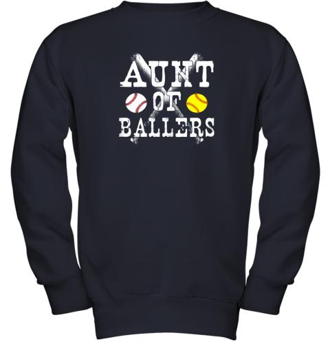 evrz vintage aunt of ballers shirt funny baseball softball love youth sweatshirt 47 front navy