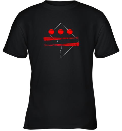 Washington DC Map Capitol Baseball Flag Youth T-Shirt