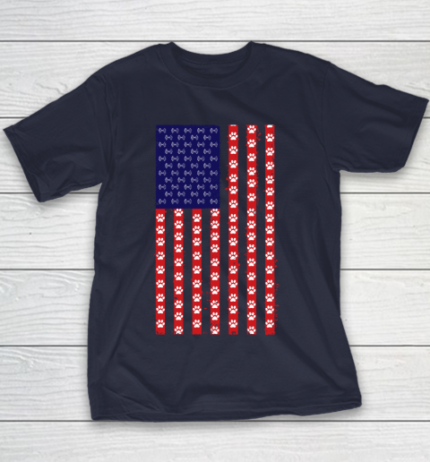 Baton Twirling Dog Lover American Flag Youth T-Shirt 2