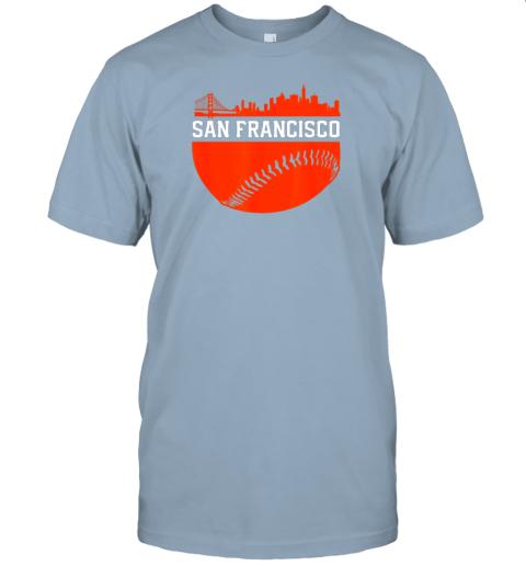 hvol san francisco baseball vintage sf the city skyline gift jersey t shirt 60 front light blue