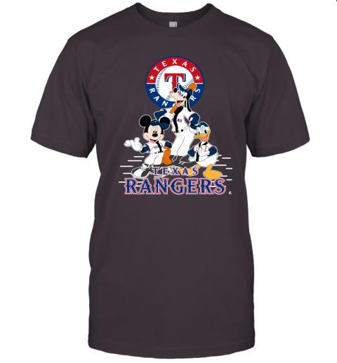 k05x texas rangers mickey donald and goofy baseball jersey t shirt 60 front dark grey