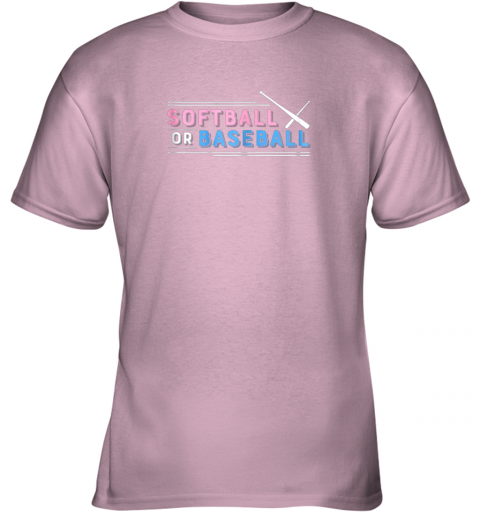 s55r softball or baseball shirt sports gender reveal youth t shirt 26 front light pink