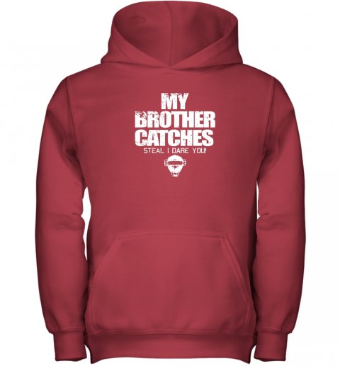 tjjj cool baseball catcher funny shirt cute gift brother sister youth hoodie 43 front red