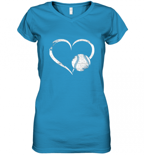 x7oe i love baseballl funny baseball lover heartbeat women v neck t shirt 39 front sapphire