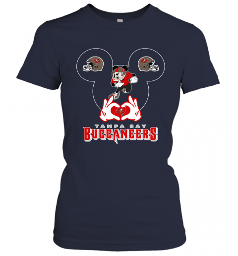 lrql i love the buccaneers mickey mouse tampa bay buccaneers s ladies t shirt 20 front navy