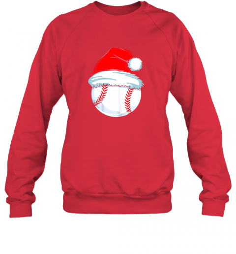qm12 christmas baseball shirt for kids men ball santa pajama sweatshirt 35 front red