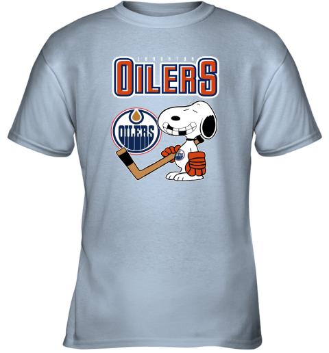 qyzy edmonton oilers ice hockey broken teeth snoopy nhl shirt youth t shirt 26 front light blue