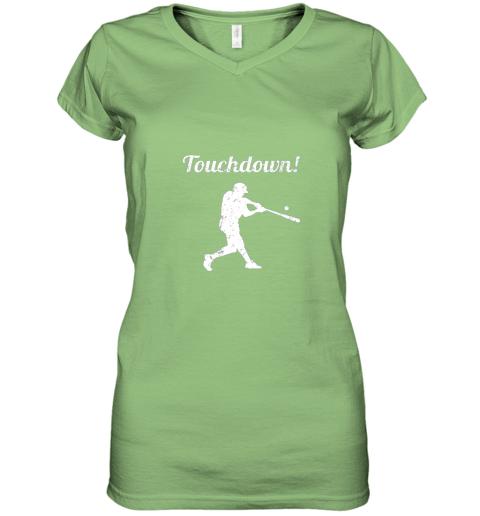 plpp touchdown funny baseball women v neck t shirt 39 front lime