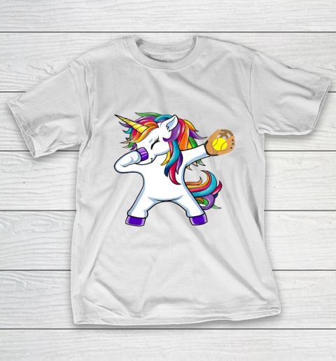 Dabbing Unicorn Softball T Shirt Funny Dab Gift T-Shirt