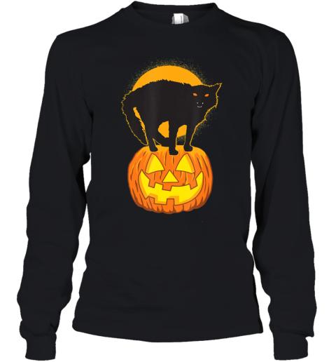 Pumpkin and Black Cat Halloween Youth Long Sleeve