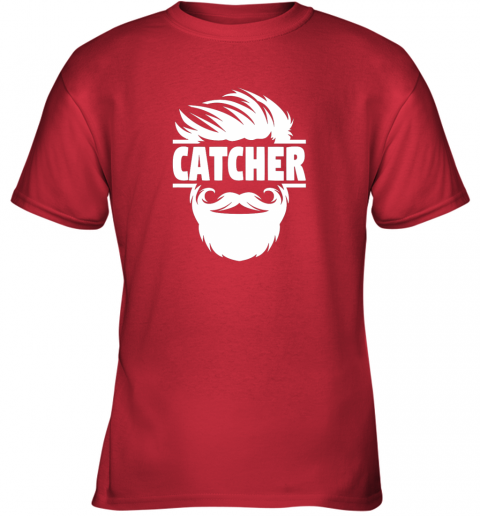 jc4s bearded baseball catcher youth t shirt 26 front red