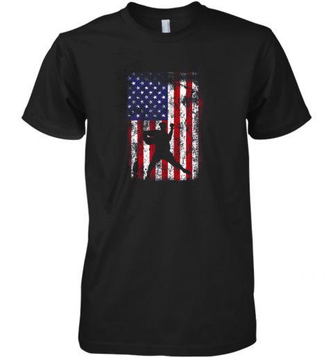 Baseball Pitcher 4th Of July Patriotic American USA Flag Premium Men's T-Shirt
