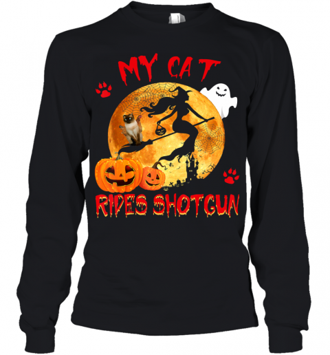 My Cat Rides Shotgun Funny Witch Cat Halloween Gifts Youth Long Sleeve