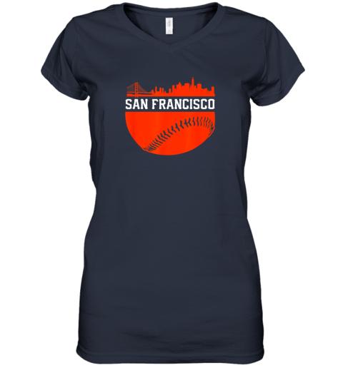 dgjs san francisco baseball vintage sf the city skyline gift women v neck t shirt 39 front navy
