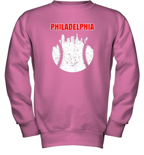 l46p vintage philadelphia cityscape baseball retro youth sweatshirt 47 front safety pink