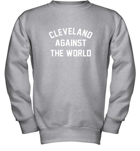 iqs9 cleveland against the world football baseball basketball youth sweatshirt 47 front sport grey