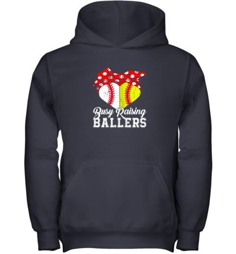 wusf busy raising ballers softball baseball youth hoodie 43 front navy
