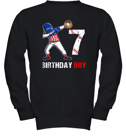 Kids 7 Years Old 7th Birthday Baseball Dabbing Shirt Gift Party Youth Sweatshirt