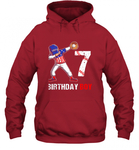 dpjk kids 7 years old 7th birthday baseball dabbing shirt gift party hoodie 23 front red