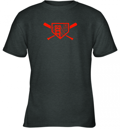 qpt9 cool san francisco baseball the city bridge sfo youth t shirt 26 front dark heather