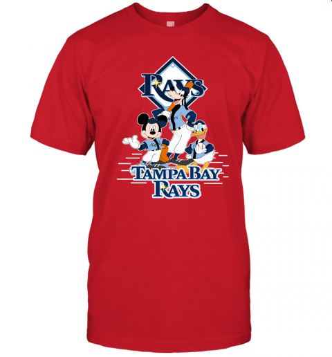 ht9i tampa bay rays mickey donald and goofy baseball jersey t shirt 60 front red