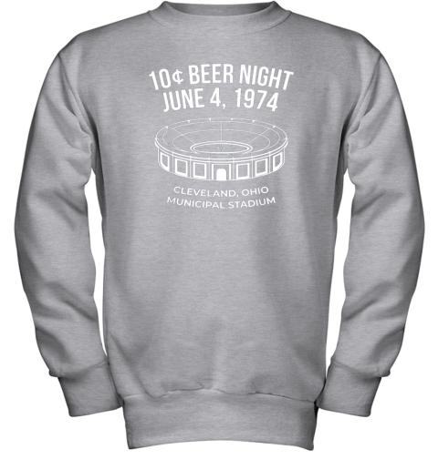 bymm cleveland baseball shirt retro 10 cent beer night youth sweatshirt 47 front sport grey