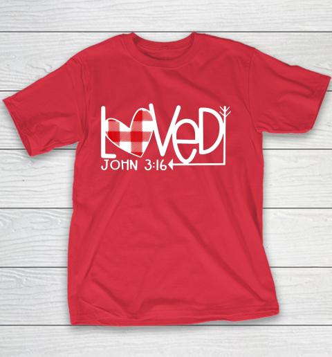 John 3 16 Loved Valentine Heart Youth T-Shirt 7