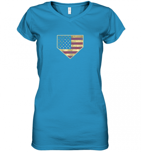 kquw vintage american flag baseball shirt home plate art gift women v neck t shirt 39 front sapphire