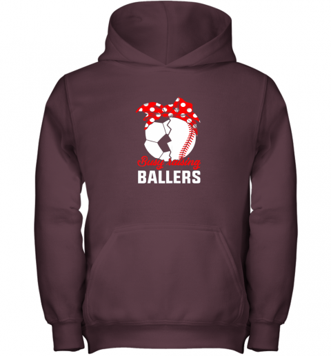 cwlg busy raising a ballerfunny baseball soccer mom youth hoodie 43 front maroon