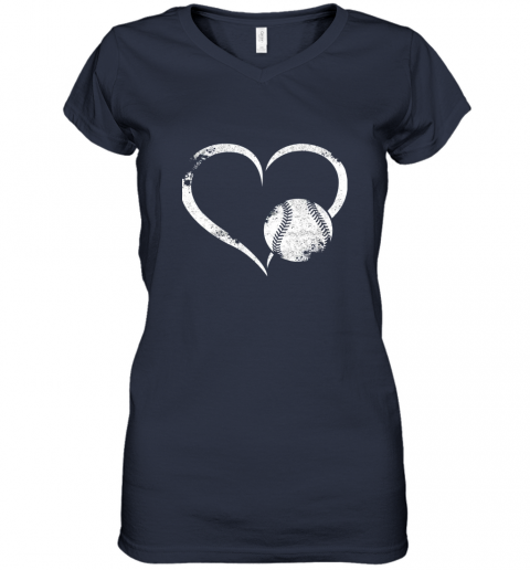 x7oe i love baseballl funny baseball lover heartbeat women v neck t shirt 39 front navy
