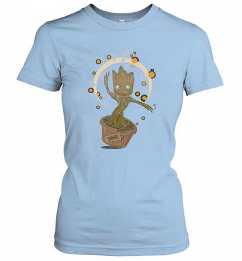 w9mp baby groot dancing to music guardians of the galaxy shirts ladies t shirt 20 front light blue