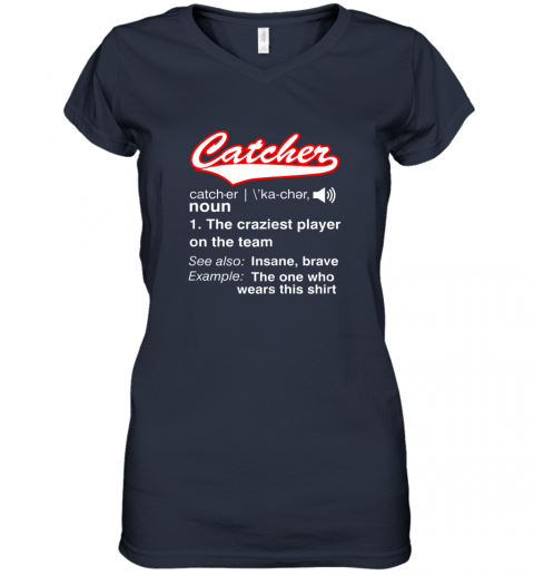 825s softball baseball catcher shirtvintage funny definition women v neck t shirt 39 front navy