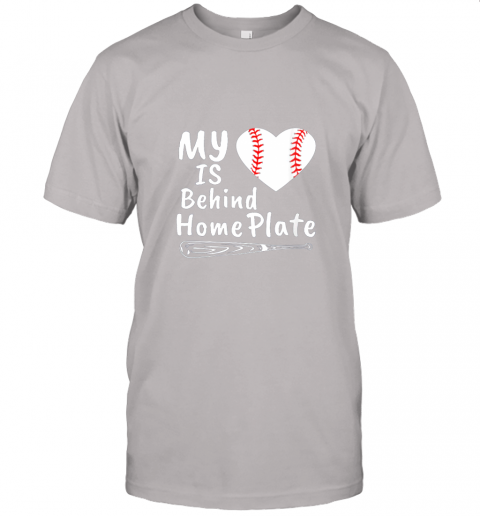0osr womens my heart is behind home plate baseball bat mom dad gift jersey t shirt 60 front ash