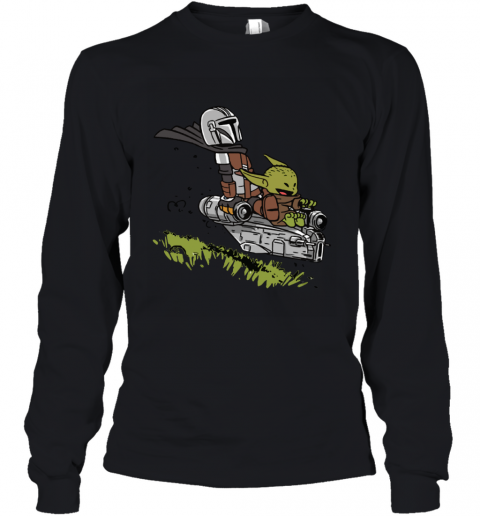 Baby Yoda And Mandalorian Calvin And Hobbes Youth Long Sleeve