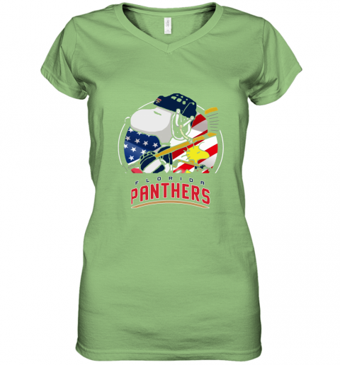 ilxh-florida-panthers-ice-hockey-snoopy-and-woodstock-nhl-women-v-neck-t-shirt-39-front-lime-480px