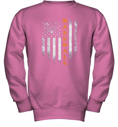 pttt vintage usa baseball distressed american flag patriotic gift youth sweatshirt 47 front safety pink