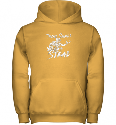 jue8 thou shall not steal baseball catcher youth hoodie 43 front gold