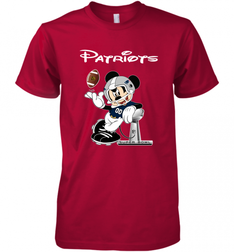 rqro mickey patriots taking the super bowl trophy football premium guys tee 5 front red