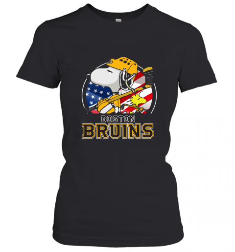 Boston Bruins Ice Hockey Snoopy And Woodstock NHL Women's T-Shirt